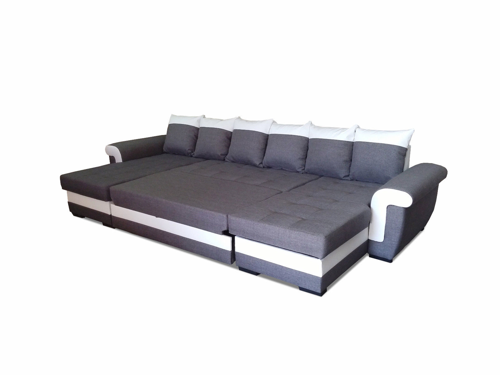 Corner sofa latte u couch sofa with sleeping function for Funktions ecksofa